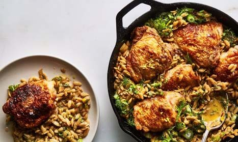 Best saute pan recipes - Skillet Chicken with Buttery Orzo guide