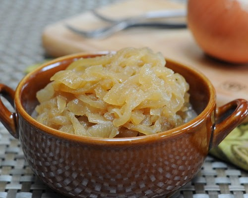 Slow Cooker Caramelized Onions, made extra-special with a little brown sugar and a little sherry and extra-easy by cooking in the slow cooker. Recipe, insider tips, nutrition, Weight Watchers points at Kitchen Parade.
