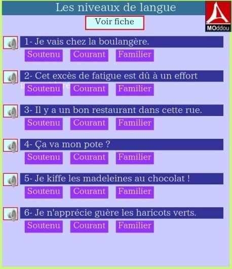 http://www.estudiodefrances.com/fle-html5/niveaux-de-langue.html