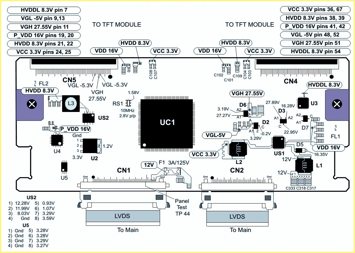 Electro help: LG 42LK520 – LCD TV TCON BOARD  LVDS Connector VOLTAGES and CHECKS