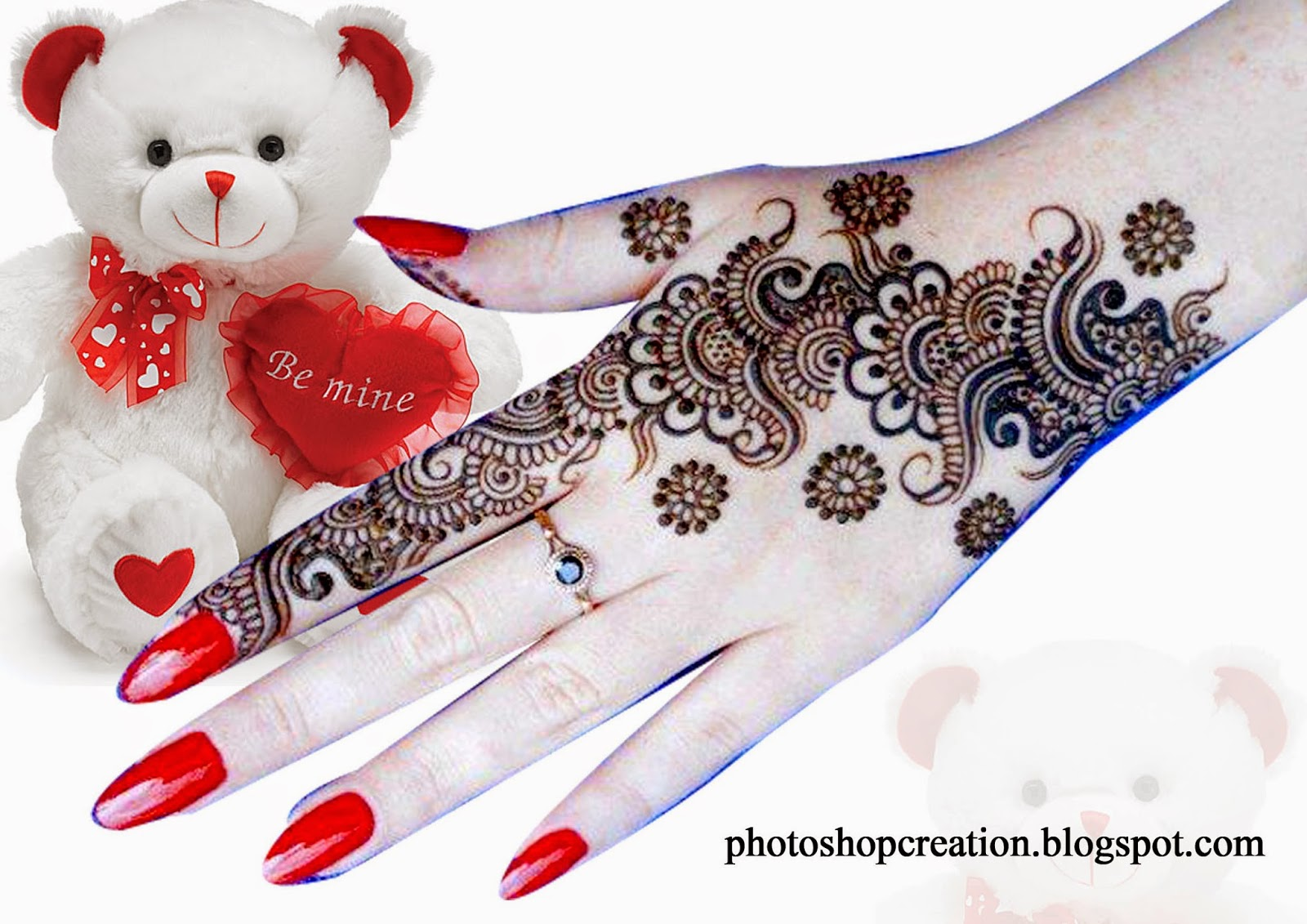 Mehandi Design For Love Photoshop Creation