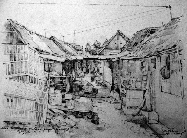 Sketsa Lorong Belakang Pasar Ngasem Jogjakarta