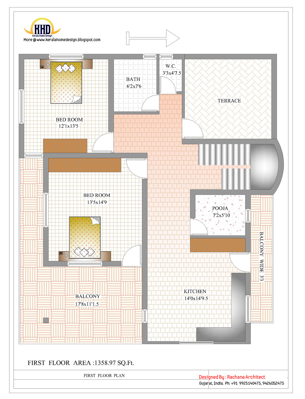Duplex house plan and elevation 2878 sq ft home for Duplex cottage plans