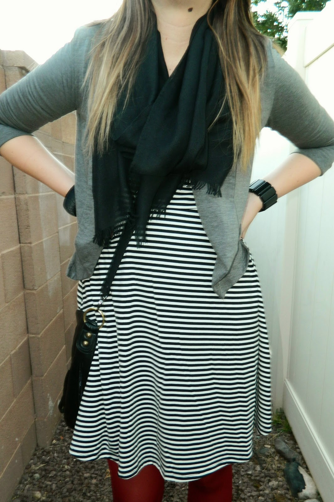 striped dress, grey cardigan, black scarf