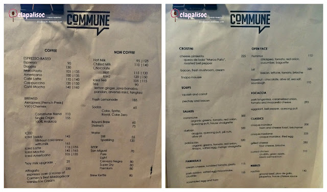 Commune Cafe + Bar Menu