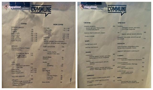 Commune Cafe + Bar Menu
