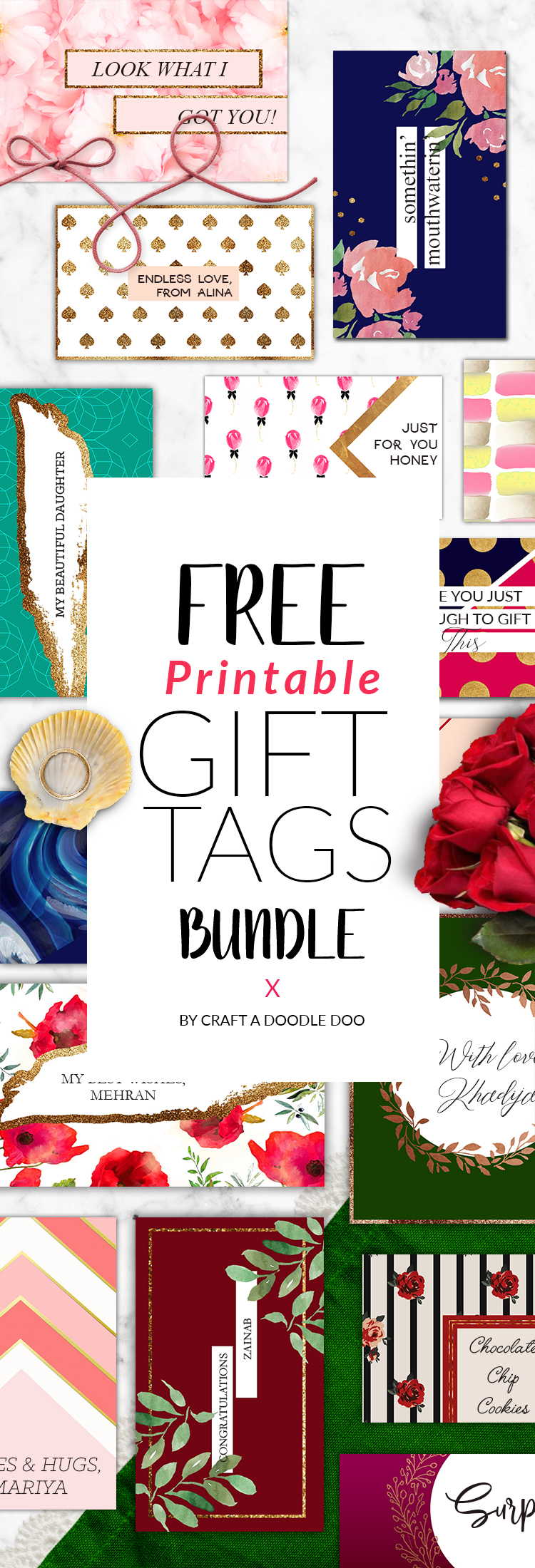 FREE PRINTABLE GIFT TAGS BY CRAFT A DOODLE DOO #free #printable #gift #tags #holidays #parties #presents #party #decor #gifts #labels #organization