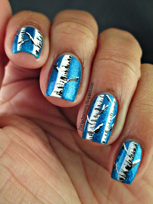 Pure Ice Strapless, birch trees, winter, blue, trees, nails, nail art, nail design, mani