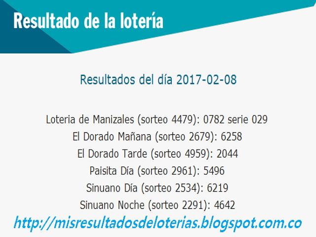 Loterias de Hoy - Resultados diarios de la Lotería y el Chance - Febrero 08 2017