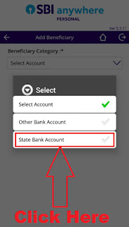 sbi anywhere app add intra bank benefeciary account