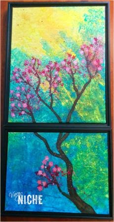 Acrylic split-canvas painting of a cherry branch in bloom. by Shari Monner, VaryNiche.com