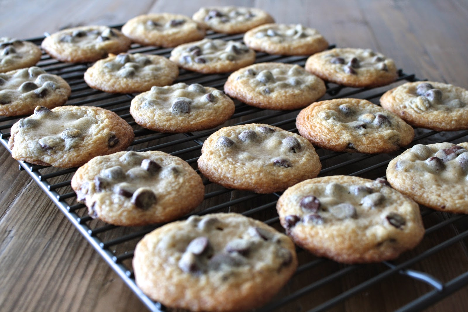 Cookies on a cooling rack.