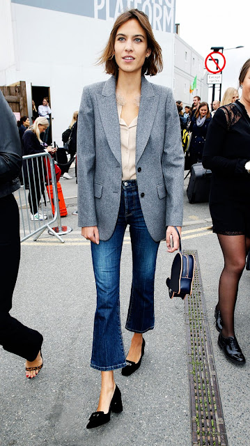 heeled loafers jeans blazer celebrity street style fashion