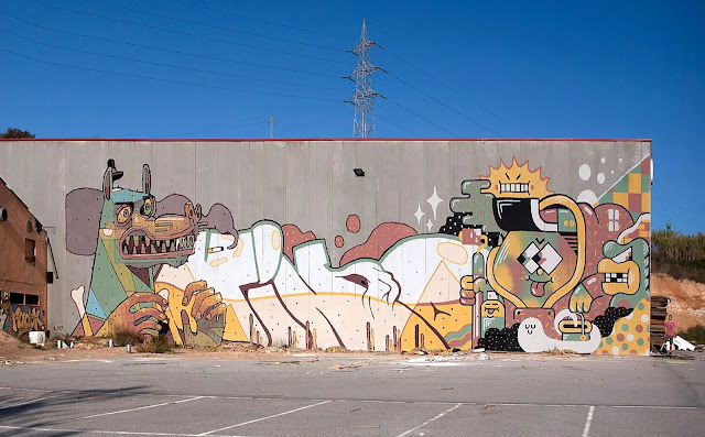 Brand New Street Art Collaboration By Aryz, Vino and Gr170 Somewhere in Spain. 1
