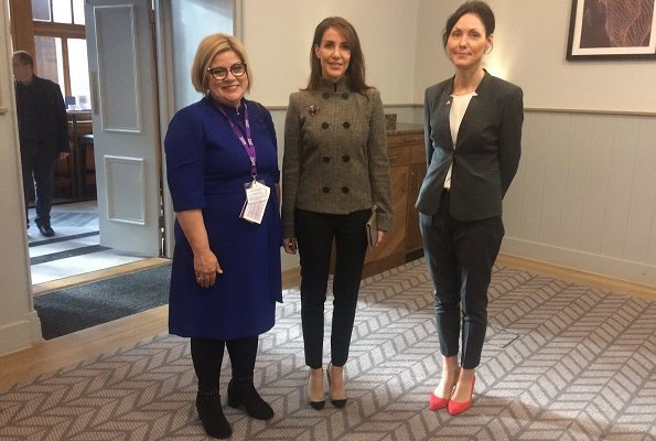 Princess Marie is wearing her Giorgio Armani beige wool button front fashion jacket at the Scottish Autism 50th Anniversary Conference in Glasgow