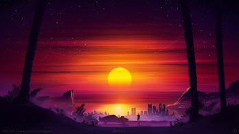 Sunset, Scenery, Horizon, Digital Art, 4K, #69
