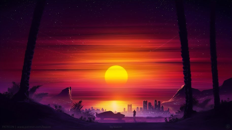 Sunset, Scenery, Horizon, Digital Art, 4K, #69