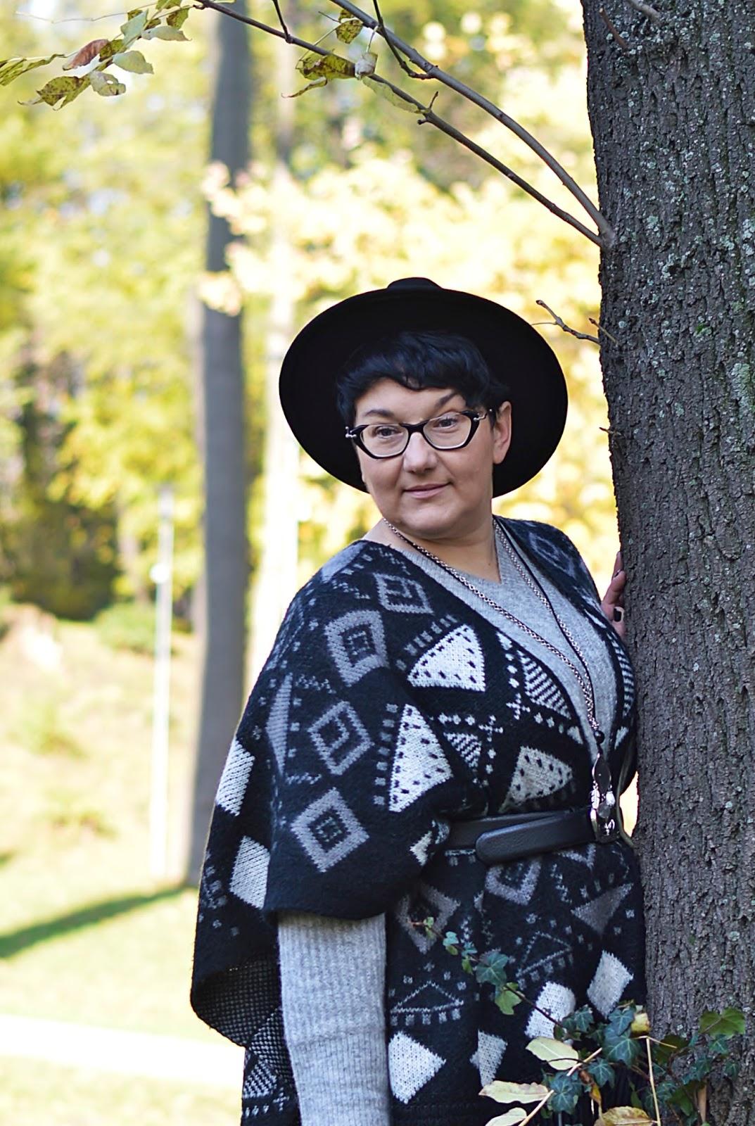 Ponczo z frędzlami, stylizacja jesienna, inspiracja na jesień, kapelusz