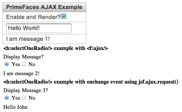 JSF Tip of the Day: JSF 2 1 AJAX Examples with PrimeFaces