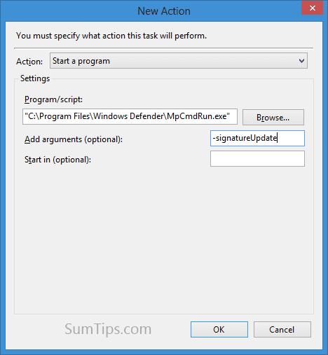 schedule defender update in windows 8
