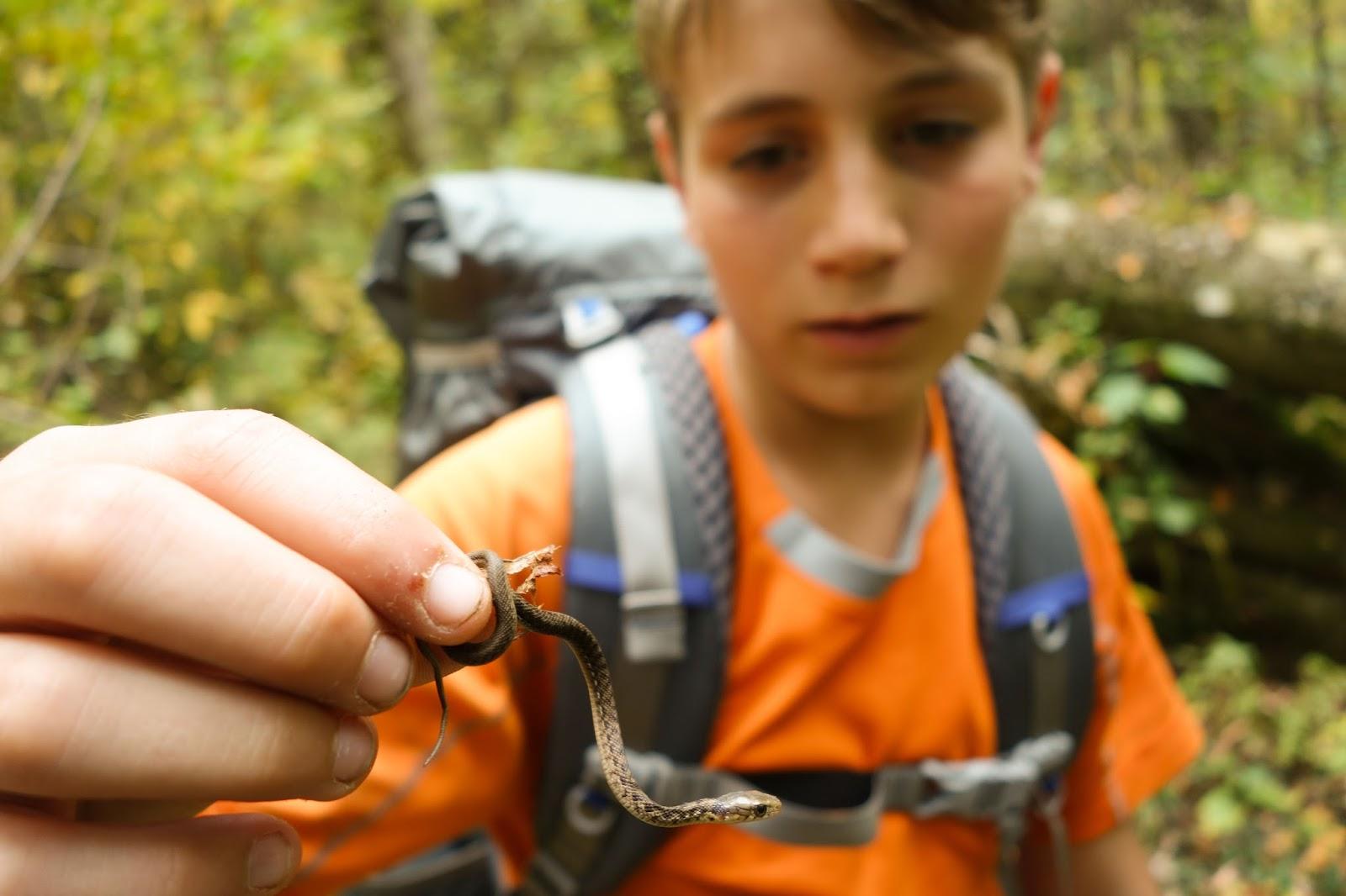 Aidan with snake