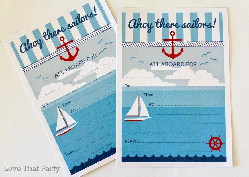 Image of boy's nautical sailor birthday party invitation with sailboat and anchor in red and blue preppy style
