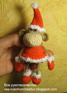 Новогодняя обезьянка вязанная крючком