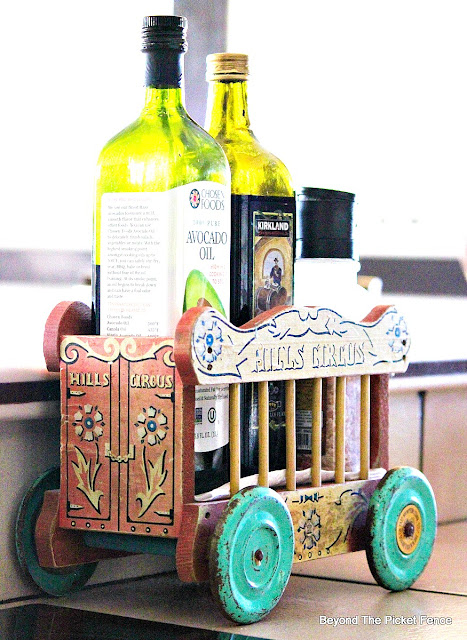 vintage toy, kitchen organization, kitchen storage, how to, budget decor, vintage decor, kitsch, kitchen, http://bec4-beyondthepicketfence.blogspot.com/2015/10/personalizing-your-home-on-budget.html