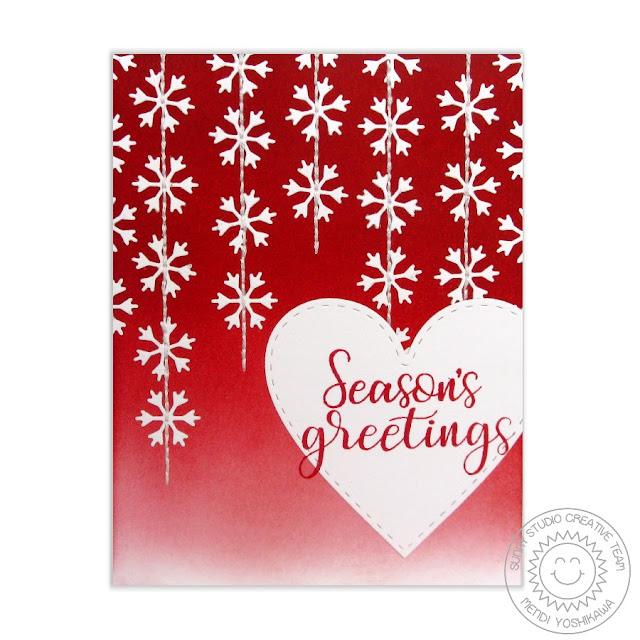 Sunny Studio Stamps: Red Stitched Snowflake Christmas Card by Mendi Yoshikawa (using free mini snowflake die, Stitched Heart Dies & Festive Greetings stamps)