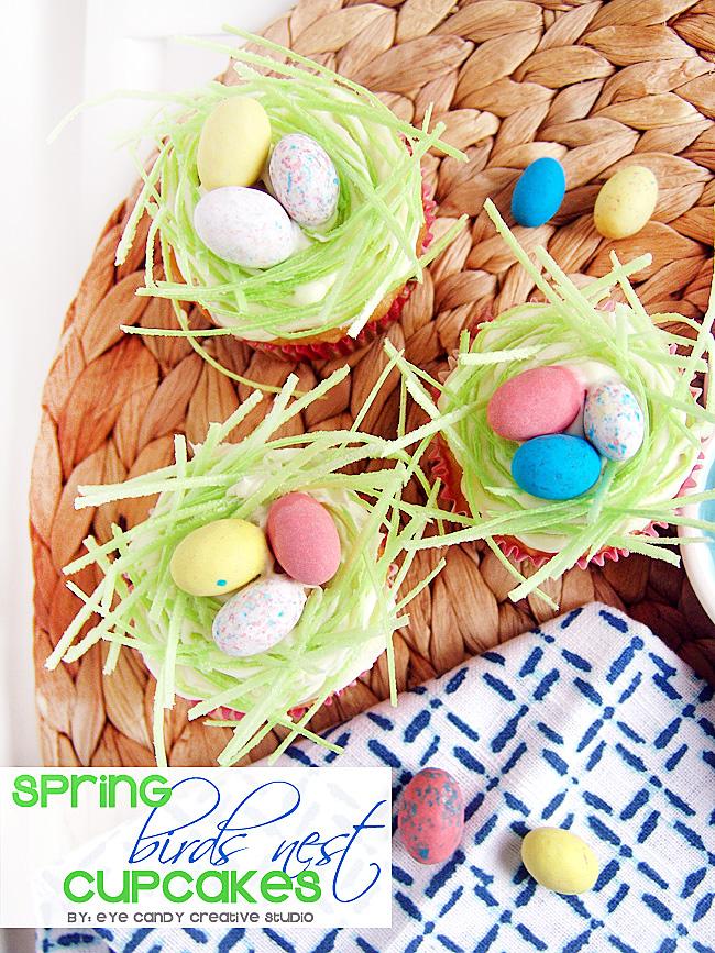 spring cupcakes, easter cupcakes, edible easter grass, robin eggs