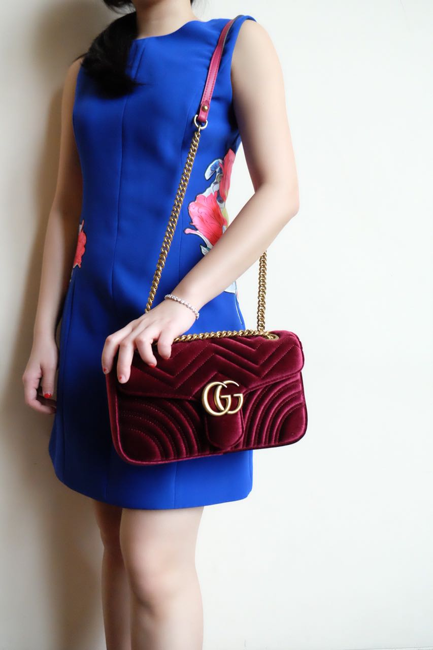 gucci velvet marmont. code: gucci gg marmont velvet with gold vintage hardware mirror original leather bag a