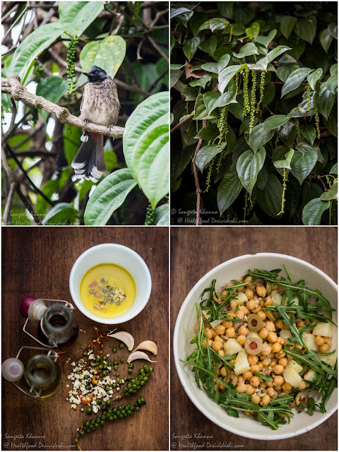 recipe of chickpeas salad in a green pepper salad dressing