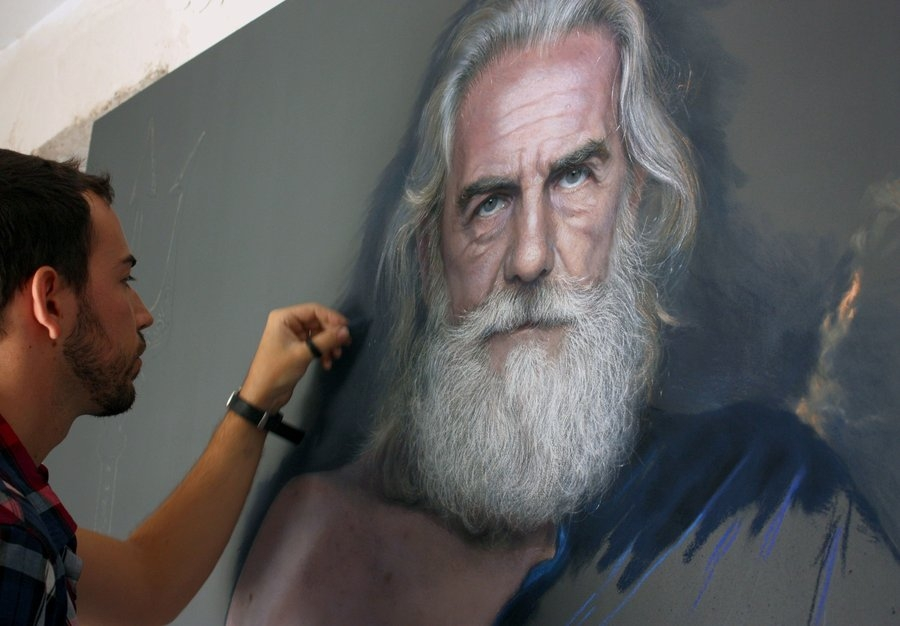 02-Poseidon-wip-Drawings of Fictional Characters in Pastel on Wooden Canvas