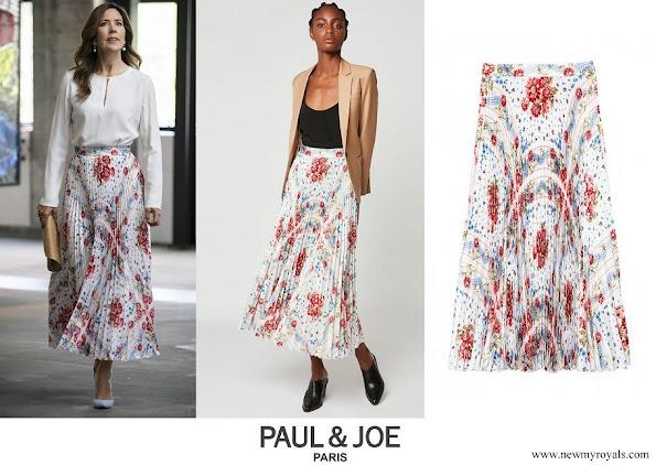 Crown Princess Mary wore Paul and Joe sunray pleated scarf print skirt