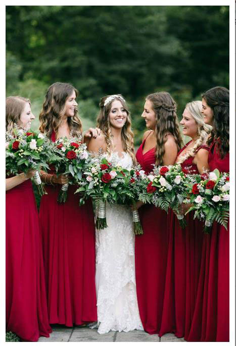 Convertible Burgundy Bridesmaid Dresses
