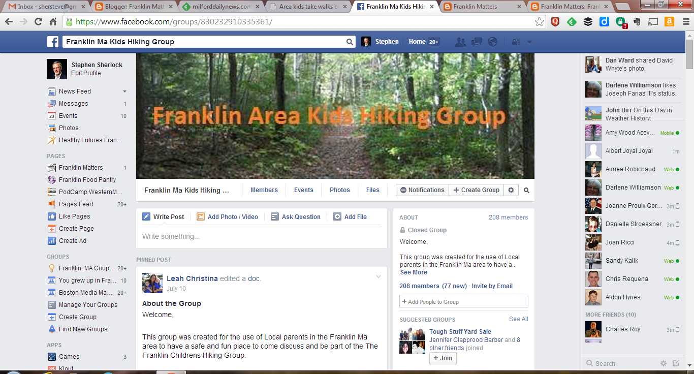 screen capture of Franklin Area Kids Hiking Group Facebook page