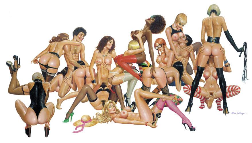 Ilustración erótica, sexo en grupo y swingers