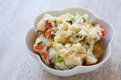 This Dad's style potato salad tossed with hard boiled eggs and other veggies makes the perfect side dish.