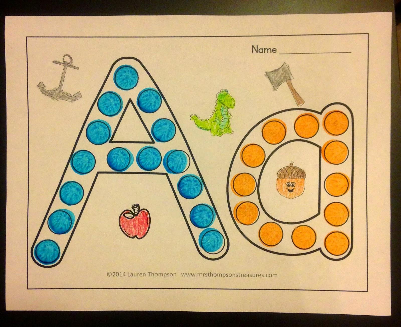 http://www.teacherspayteachers.com/Product/Dot-the-Alphabet-Letter-Sound-Recognition-1491885