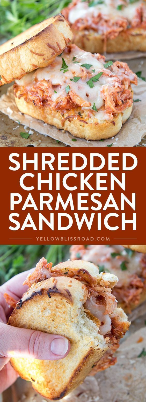 Shredded Chicken Parmesan Sandwich #breakfast #shredded #chicken #parmesan #sandwich