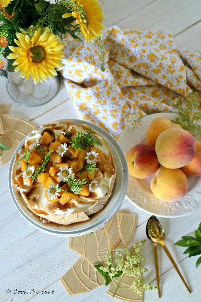peaches-semifreddo, tarta-helada-de-melocoton, summer-dessert, icecream-peache-tart