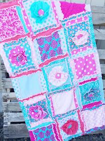 Ruffle Flower Rag Quilt 3-d Baby quilt