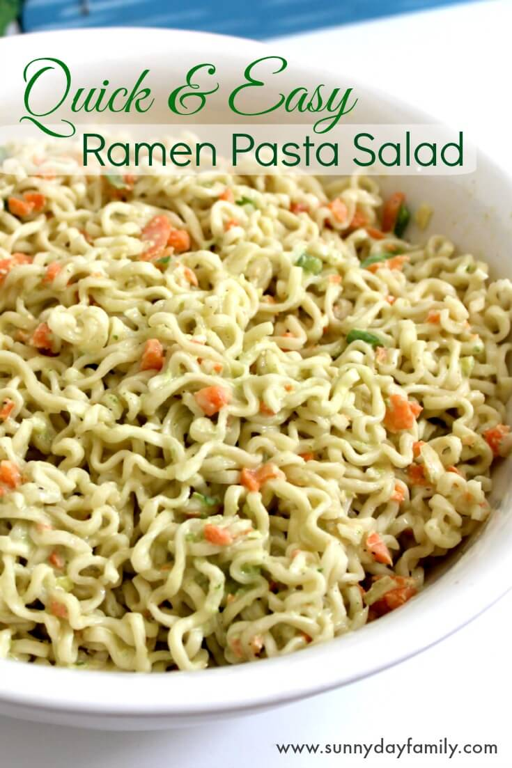 Quick and easy ramen pasta salad. Kid approved pasta salad that cooks  in minutes and tastes delicious!