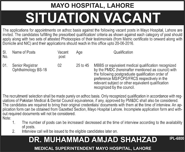 Senior Registrar Jobs in Mayo Hospital Lahore for MBBS Doctors Jobs in Pakistan BS-18