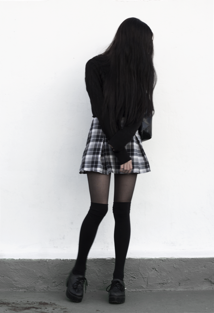 lune, nocturne, blog, grunge, outfit, look, blogger, plaid, skirt, high knee socks