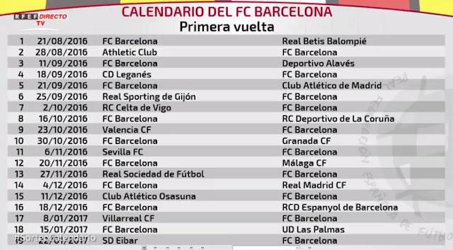 جدول مباريات برشلونة كاملا فى الدورى الاسبانى موسم  2017-2018