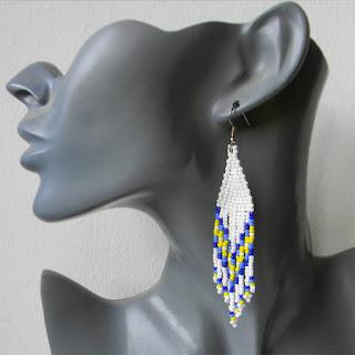 купить длинные белые серьги из бисера с бахромой украшения в этно-стиле