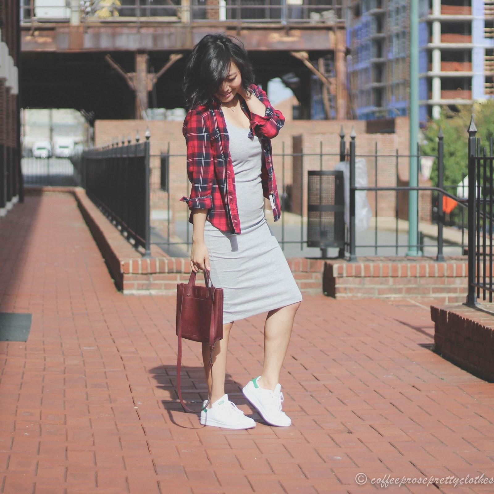 Adidas Stan Smith, Madewell Transport, tank dress, plaid flannel