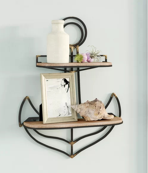 Decorative Nautical Anchor Wall Shelf