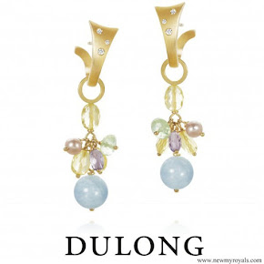 Crown Princess Victoria wore Dulong Piccolo Earrings Gold prehnite, aquamarine and freshwater pearl, pair
